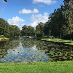 Park in Wateringen in het Westland met een groen grasveld en een grote vijver met bomen rechts en in de achtergrond op een zonnige dag
