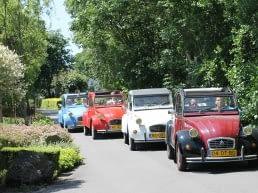 4 verschillend gekleurde 2 CV's (lelijke eendjes) van Eenden Tours Westland rijden achter elkaar over een groen begroeid tuinderslaan in het Westland