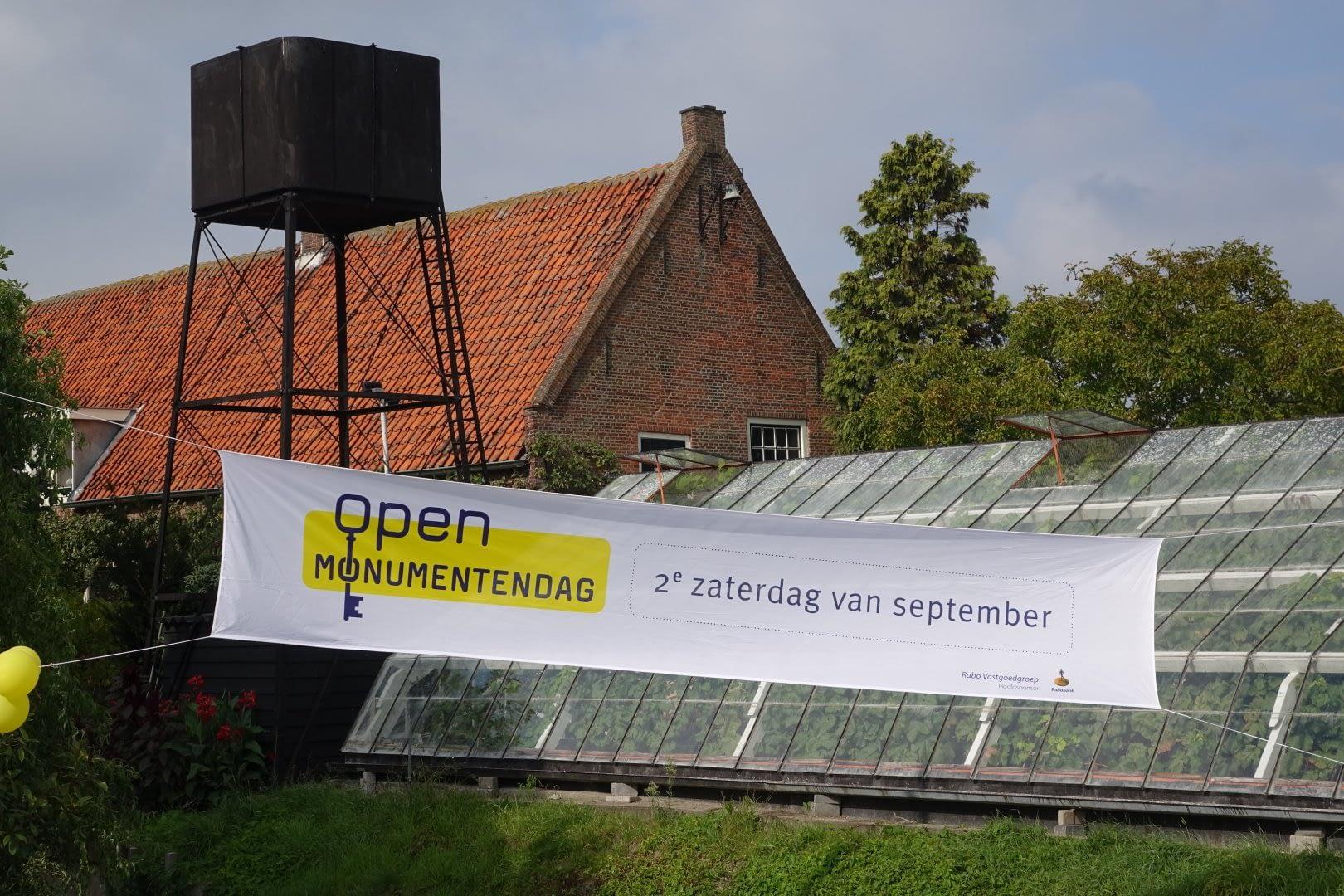 spandoek bij de Historische Druivenkwekerij Sonnehoeck tijdens Open Monumentendag in het Westland