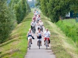 Grote groep 50 plussers die op een warme zomerse dag naast en achter elkaar fiets over een fietsroute met veel groen bomen in het Westland