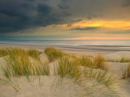 Avondlicht op de zee en de duinen in het Westland