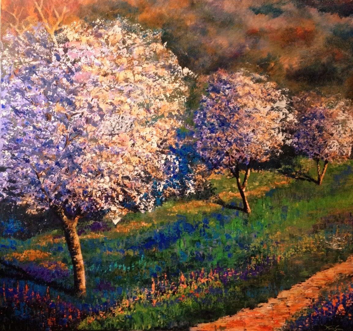 kunstwerk met bomen en landschap van kunstenaar van Kunstenaarscollectief WIT